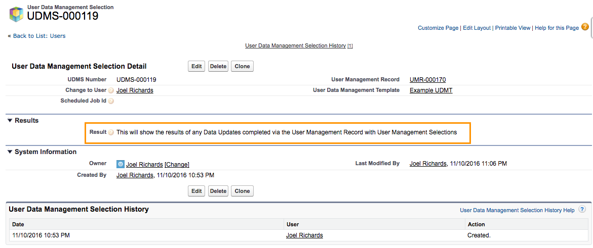 Edit the User Management Record